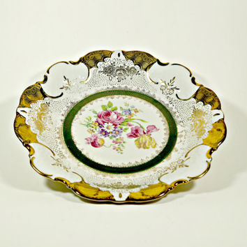 Vintage Porcelain Dish, Floral Pattern Dish, Vintage Serving Bowl, Vintage Round Dish, Collectibles, Relish Dish, Homedecor, Germany