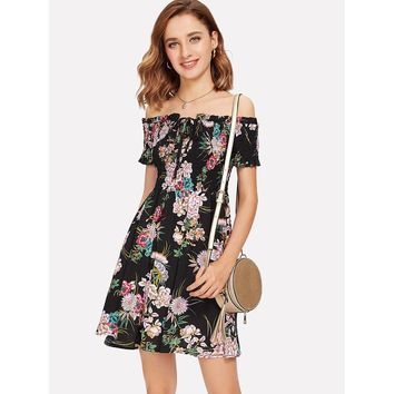 Shirred Bardot Botanical Print Dress