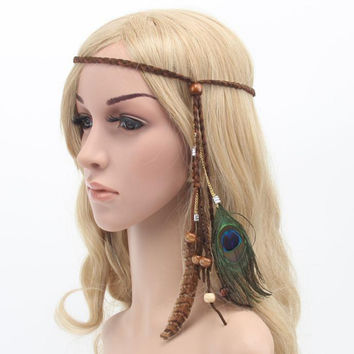 New! Bohemia Hippie Style Braided Headband/Peacock Feather!