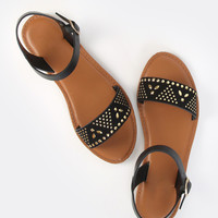 Studded Open Toe Sandals BLACK | MakeMeChic.COM
