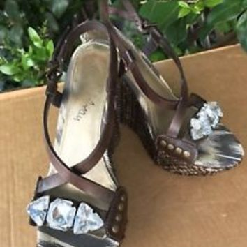 SAM EDELMAN Wedge Platform Sandals with Gemstones Sz 7.5