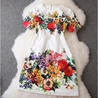 Floral Dress in White