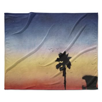 "Infinite Spray Art ""Carlsbad Sunset"" Coastal Painting Fleece Throw Blanket"