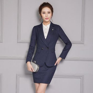 Women Business Suits Formal Office Uniform Designs Skirt Suits Work 2 Piece Set Women Double-breasted Blazer Stripe + Mini Skirt