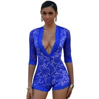 2015 New Fashion Sexy women Jumpsuits & Rompers Royal Blue White Illusion Deep V Neck Romper LC60429 rompers womens jumpsuit