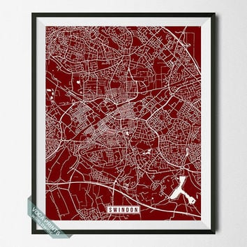 Swindon Print, England Poster, Swindon Poster, Swindon Map, England Print, Street Map, England Map, Home Decor, Wall Art
