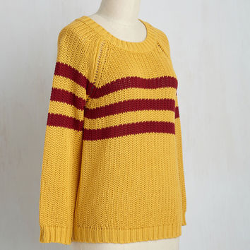 Mind Over Alma Mater Striped Sweater in Marigold | Mod Retro Vintage Sweaters | ModCloth.com