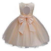 Champagne Children Baby Girl Dress Clothing Baeutiful Lace Christening Gown Tutu Formal Backless Princess Evening Party Dresses