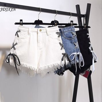 1pcs Womens Sexy jeans denim shorts 2017 Summer Fashion pure cotton lace-up super shorts Ladies Skinny short jeans young women