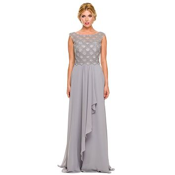 CLEARANCE - Floor Length Silver Chiffon Formal Gown Cap Sleeve Bateau Neck (Size 2XL)