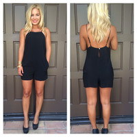 Black Raquel Romper With Pockets