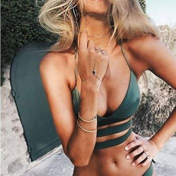 DCCKR2 Trends Sexy bikinis with pure color bands TWO PIECE BIKINI