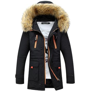 Men's Clothing Hooded 2016 Fashion Keep Warm Coat Casual Men's Down Jacket 90% White Duck Down Long section Jacket for men 6168