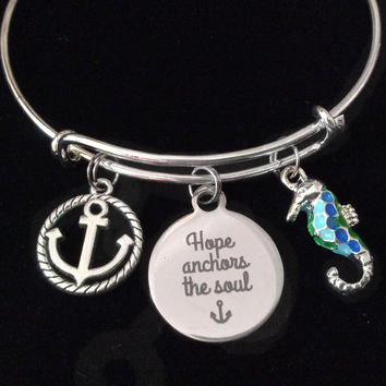 Hope Anchors the Soul Seahorse Silver Expandable Charm Bracelet Adjustable Bangle Nautical Trendy Meaningful Inspirational