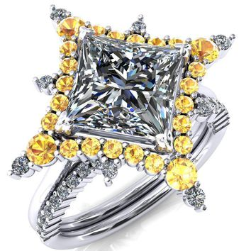 Thalim Princess/Square Moissanite 4-Point Star Yellow Sapphire and Diamond Halo Ring ver. 2