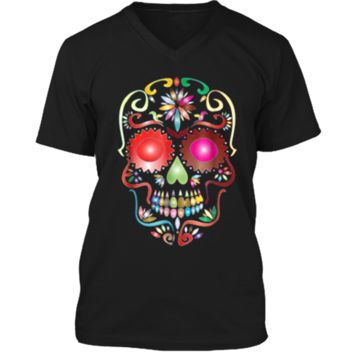 Colorful Sugar Skull  for Mexican Day Of The Dead Mens Printed V-Neck T