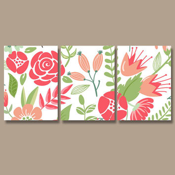 Flower Wall Art Canvas Artwork Pottery Garden Flourish Pink Green Floral Nursery Set of 3 Prints Decor Bedroom Bedding Bathroom Three