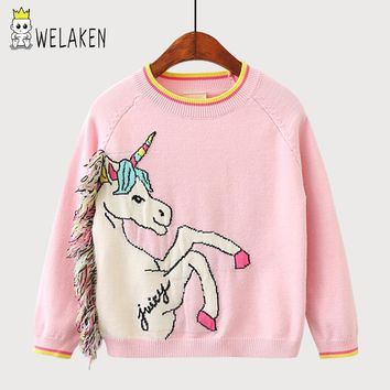weLaken 2018 New Hot Girl's Sweaters Cartoon Unicorn Pattern Kids Knit Wear Winter Toddler Children Princess Pullover Clothing