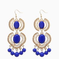 Boho 2pt Cab Cut Out Fan Drop Earring