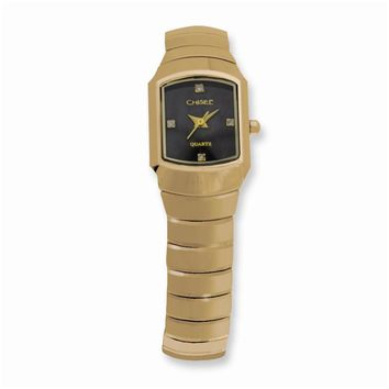 Ladies Chisel Tungsten Gold-plated Accent/Black Dial Watch