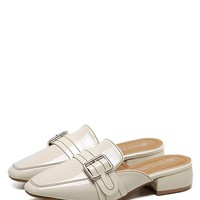 Low Heel Buckled Mules Shoes