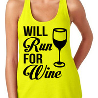 Will Run For Wine Tank Women's Gym Workout Fitness Funny Booty Funny Muscle Squat