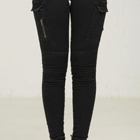 Mid Rise Cargo Skinny Jeans