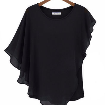 Asymmetrical Ruffled Short Sleeve Chiffon Top