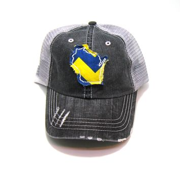 Wisconsin Trucker Hat - Gray Distressed - Royal and Yellow Chevron