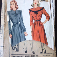 Simplicity 1472 pattern for Lady's Dress with Wide Collar, Size 13, Circa 1940s