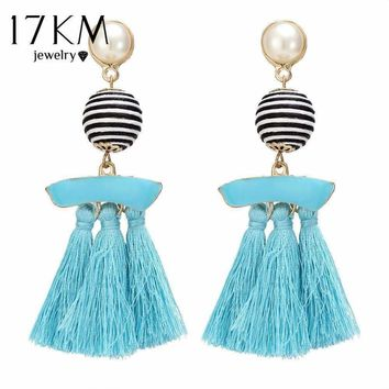 17KM Vintage Ball Pendant Chandelier Earrings For Women Ethnic Handmade Multicolor Tassel Statement Earring Long Crystal Dangle