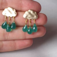Cloud  Green Onyx post earrings  matte golden by AntiqueGemStone