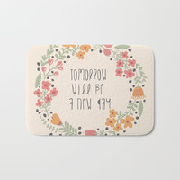 Small Floral Graphic Design Typography Art Bath Mat by Estef Azevedo