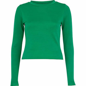 Green rib high neck t-shirt