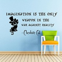 Wall Decals Quotes Alice in Wonderland - Imagination is the Only Weapon - Cheshire Cat Sayings Quote Smile Cat Kids Boys Girls Nursery Baby Room Wall Vinyl Decal Stickers Bedroom Murals