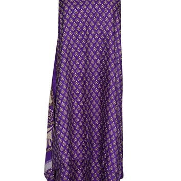 Women's Bohemian Wrap Skirt Purple Premium Silk Sari Reversible Long Skirt ... ...