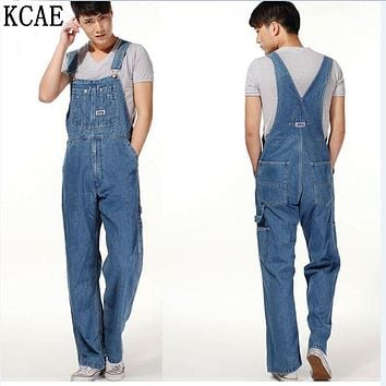 Hot 2017 Men's Plus Size Overalls Large Size Huge Denim Bib Pants Fashion Pocket Jumpsuits Male Free Shipping Brand