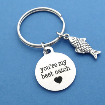 You're my best catch, Fish, Fish hook, My best catch, Heart, Keychain, Keyring, Aniversary, Gift, Birthday, Key, Ring, Key, Chain, Accessory