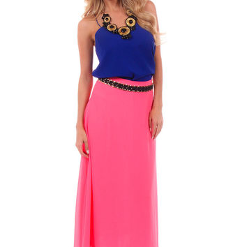 neon pink flowy maxi skirt from lime lush boutique lime lush