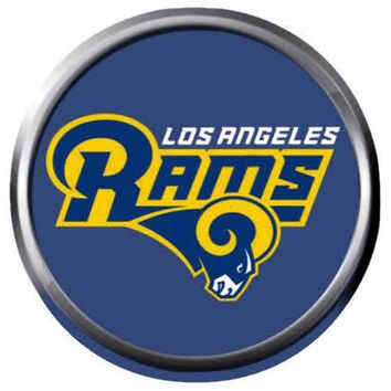 NFL Superbowl LA Rams Head Blue Football Fan Logo 18MM-20MM Snap Jewelry Charm New Item