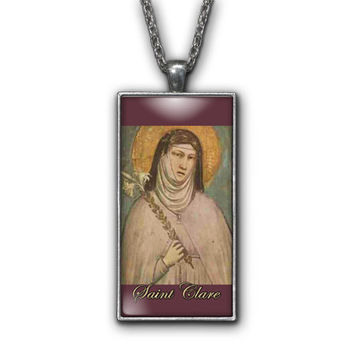 Saint Clare of Assisi Painting Religious Pendant Necklace Jewelry
