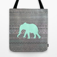 Mint Elephant Tote Bag by Sunkissed Laughter