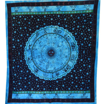 Big ASTROLOGY Zodiac Hippie Hippy Wall Hanging Indian Tapestry Bedspread Boho Ethnic Queen mandala tapestry home decor tapestries