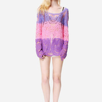 Dazed Days Colorful Sheer Lace Cover Up Tank Dress// Vibrant Pretty In Pink Summer Relaxed Easy Fit Tunic