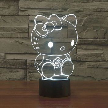 Hello Kitty Sitting 3D LED Night Light Lamp