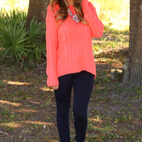 How To Save A Life Sweater: Neon Coral