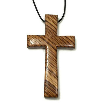 Cross Necklace, Cross Pendant, Large Wooden Cross, Men's Necklace, Zebrawood Cross, Carved Wooden Cross, Mens Cross Necklace, Husband Gift