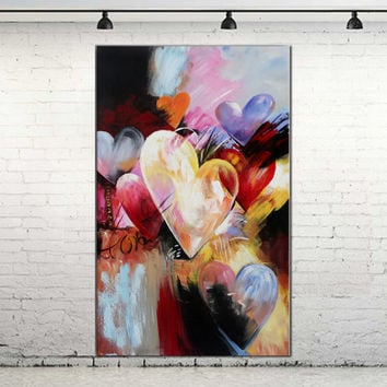 Hot design Hand Painted Modern Canvas Abstract Oil Painting Colorful heart shape Painting Modern Home Wall Decor Canvas Art