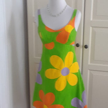 1960s Bright Mod Flower Power Mini Sundress, Dress, Bobbie Brooks, Size Small, 32B