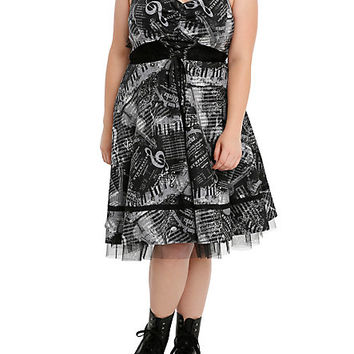 Black & Grey Music Note & Piano Dress Plus Size